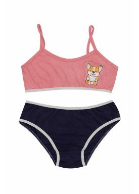 conjunto top calcinha infantil feminina dogs rosa evanilda 22010030