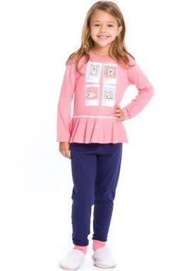 pijama longo infantil feminino dogs rosa evanilda 24010069