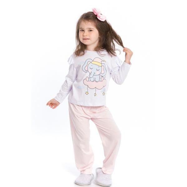 pijama longo infantil feminino elefantinho branco evanilda 40010006