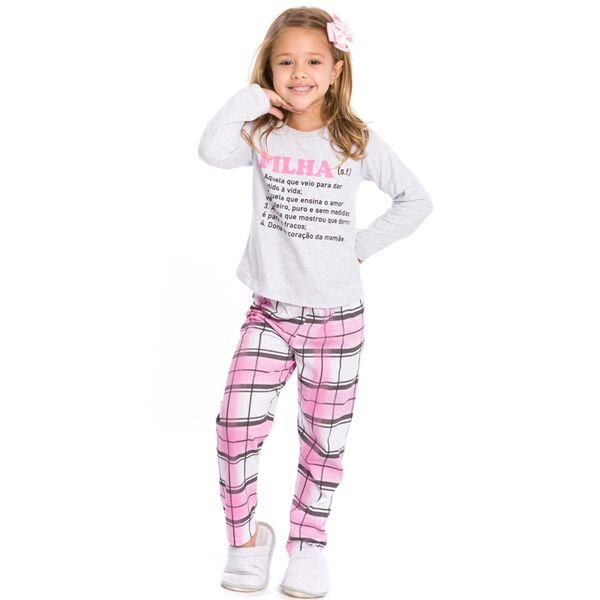pijama longo infantil feminino filha mescla evanilda 24010062