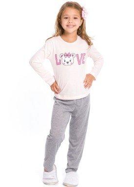pijama longo infantil feminino love rosa evanilda 24010064