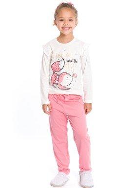 pijama longo infantil feminino raposa natural evanilda 24010067