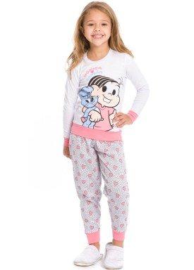 pijama longo infantil feminino turma monica branco evanilda 24040066