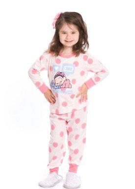 pijama longo infantil feminino turma monica rosa evanilda 40040015