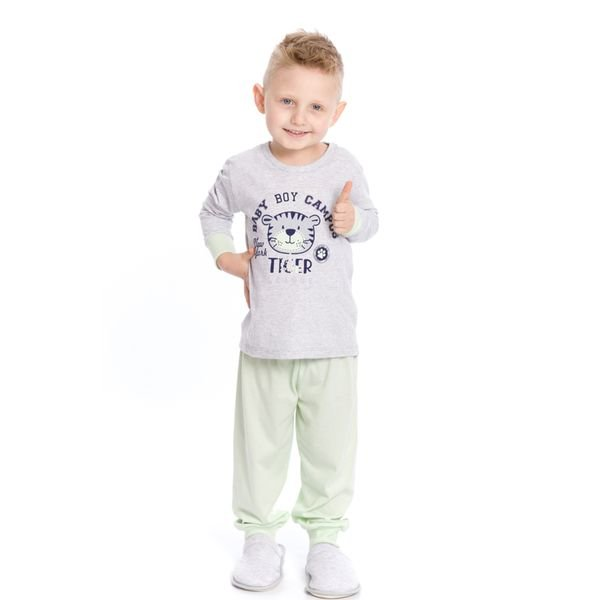 pijama longo infantil masculino baby tiger mescla evanilda 41010005