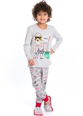 pijama longo infantil masculino bichinhos cinza evanilda 27010045