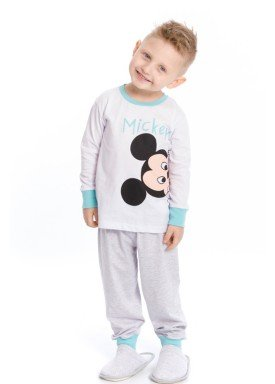 pijama longo infantil masculino disney branco evanilda 41030006