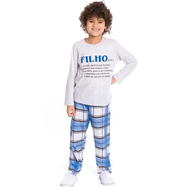 pijama longo infantil masculino filho mescla evanilda 27010041