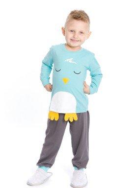 pijama longo infantil masculino passaro azul evanilda 41010006