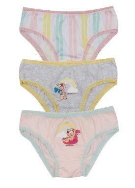 kit calcinha 3pc s infantil feminina turma monica evanilda 01040068