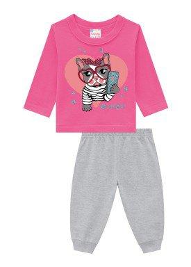 conjunto moletinho infantil feminino selfie rosa brandili 54277