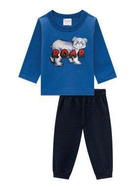 conjunto moletinho infantil masculino roar azul brandili 54278