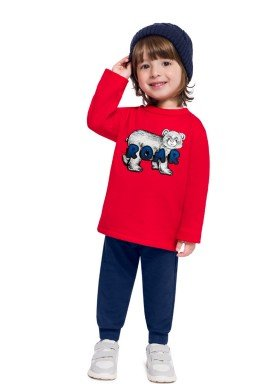 conjunto moletinho infantil masculino roar vermelho brandili 54278 1