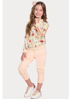 conjunto manga longa infantil feminino floral bege alakazoo 67549 1