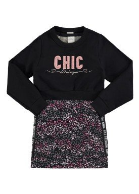 conjunto vestido blusao infantil feminino chic preto alakazoo 67524