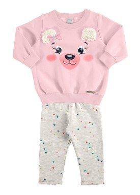 conjunto moletom bebe feminino ursinho rosa alakazoo 67461