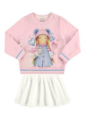 conjunto moletom saia infantil feminino rosa alakazoo 67465