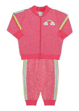 conjunto moletom infantil feminino estampado rosa alakazoo 67451