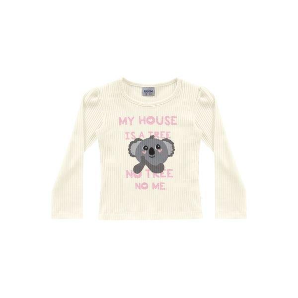 blusa manga longa infantil feminina cool coala marfim fakini 1038