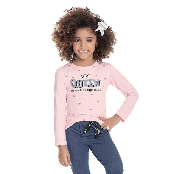 blusa manga longa infantil feminina mini queen rosa fakini 1098 1