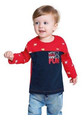 camiseta manga longa bebe masculina some fun vermelho fakini 1215 1