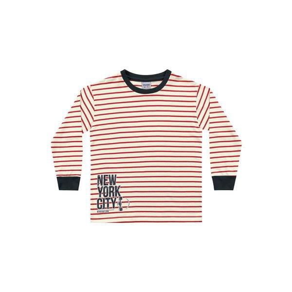 camiseta manga longa infantil masculina new york vermelho fakini 1270