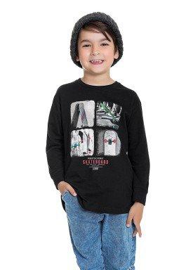 camiseta manga longa infantil masculina skateboard preto fakini 1269 1