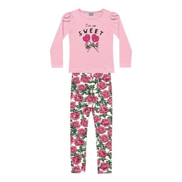 conjunto manga longa infantil feminino sweet rosa fakini 1103
