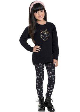 conjunto moletinho infantil feminino lovely preto fakini 1097 1