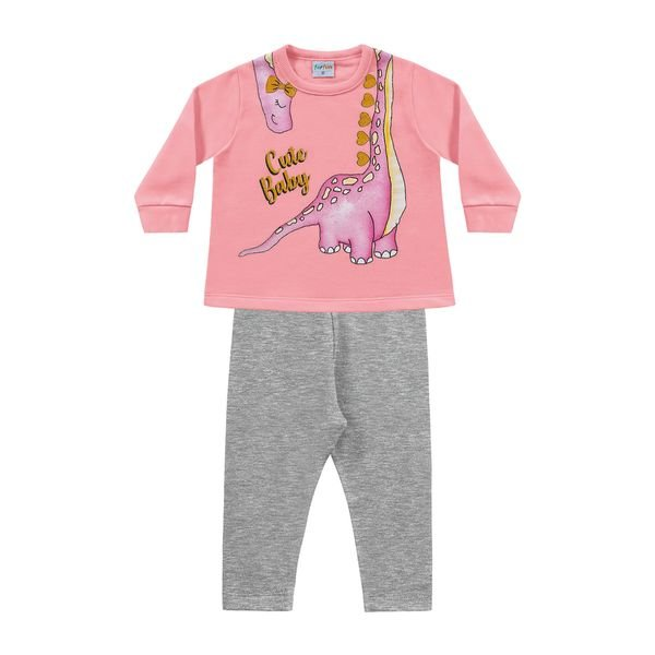 conjunto moletom bebe feminino cute baby rosa fakini forfun 1150