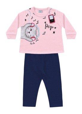conjunto moletom bebe feminino music rosa fakini forfun 1153