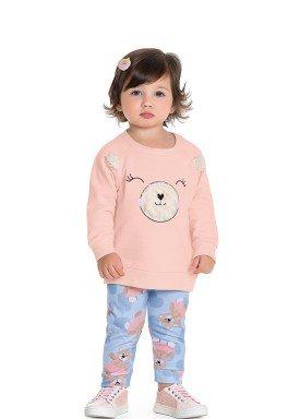 conjunto moletom bebe feminino ursinho rosa fakini 1019 1