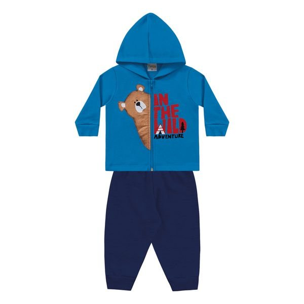 conjunto moletom bebe masculino adventure azul fakini forfun 1176