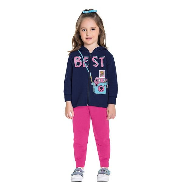 conjunto moletom infantil feminino best marinho fakini forfun 1155 1
