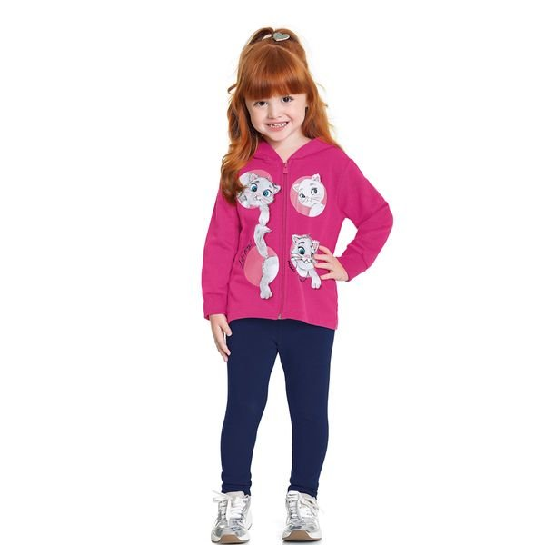conjunto moletom infantil feminino miau pink fakini forfun 1156 1