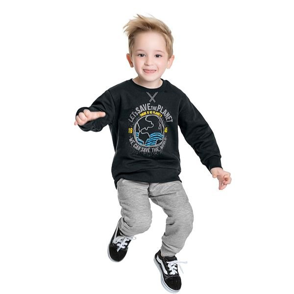 conjunto moletom infantil masculino save the world asfalto fakini 1232 1
