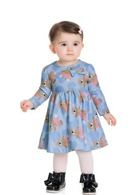 vestido manga longa bebe feminino ursinho azul fakini 1017 1