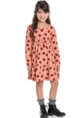 vestido manga longa infantil feminino bolinhas coral fakini 1063 1
