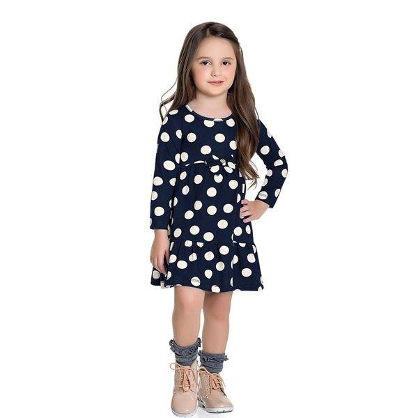 vestido manga longa infantil feminino bolinhas marinho fakini 1023 1