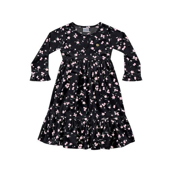 vestido manga longa infantil feminino flores preto fakini 1053