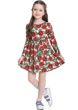 vestido manga longa infantil feminino rosas vermelho fakini 1105 1