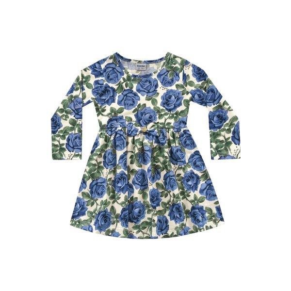 vestido manga longa infantil feminino roses azul fakini 1057
