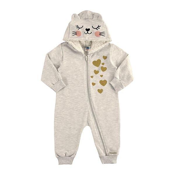 macacao moletom capuz bebe feminino mescla marlan 20414