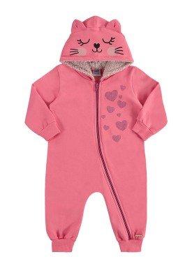 macacao moletom capuz bebe feminino rosa marlan 20414