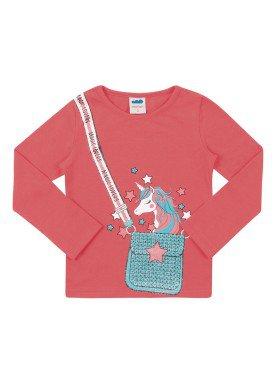 blusa manga longa infantil feminina unicornio rosa marlan 22566