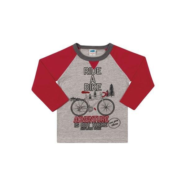 camiseta manga longa infantil masculina bike mescla marlan 22598