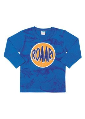 camiseta manga longa infantil masculina dinos azul marlan 22575
