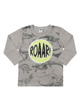 camiseta manga longa infantil masculina dinos mescla marlan 22575