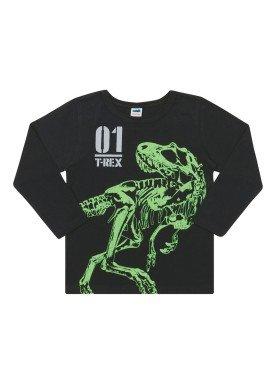 camiseta manga longa infantil masculina trex preto marlan 24683