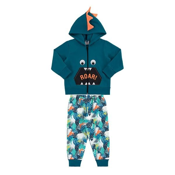 conjunto moletom bebe masculino roar azul marlan 20449
